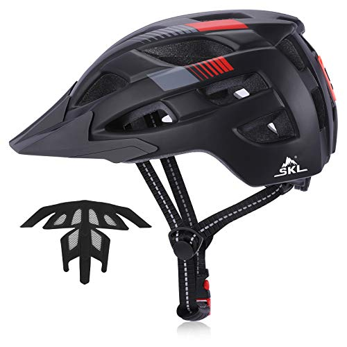 SKL Adult Bike Helmet Sports Safety Cycling Bicycle Helmet for Men Women Cycle Helmet Mountain Biking Helmet with Rechargeable Tail Light 57-62cm Black