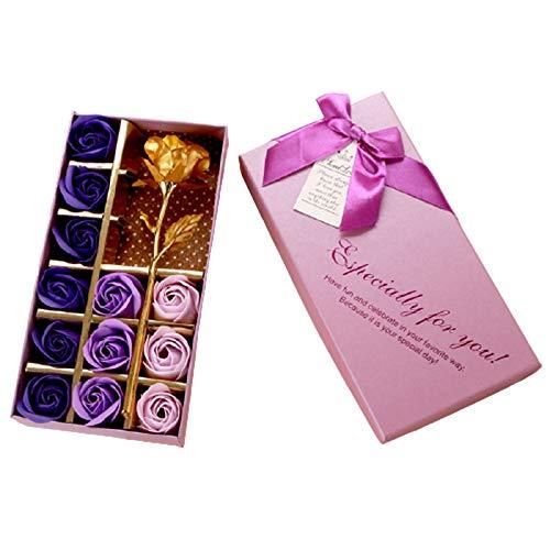 metagio Juego de 12 jabones de rosas con aceite esencial para plantas y rosas, hechos a mano, con aroma de rosa, ideal como regalo para mujeres y niñas, cumpleaños (morado)