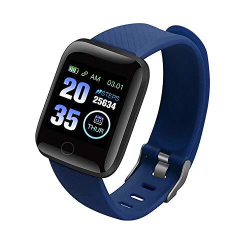 Reloj inteligente con Bluetooth, impermeable, monitor de presión arterial y frecuencia cardíaca, monitor Y68, monitor de sueño, pulsómetro, reloj deportivo, color azul