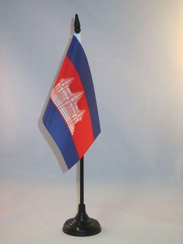 AZ FLAG TISCHFLAGGE KAMBODSCHA 15x10cm - KAMBODSCHANISCHE TISCHFAHNE 10 x 15 cm - flaggen