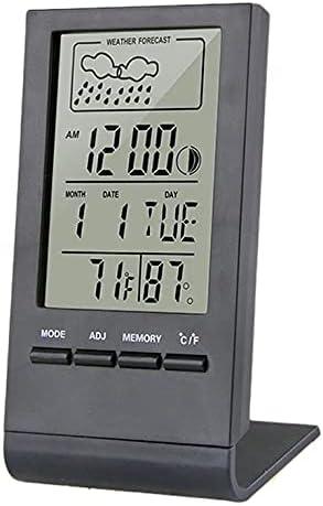 QiKun-Home Termómetro Higrómetro Indicador Medidor Interior Exterior Automático Estación meteorológica Monitor de Humedad electrónico Reloj de Temperatura Negro