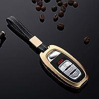 アルミ合金車アウディ A7 A6 A5 A4 A3 S7 S5 Q5 rs キーホルダーバッグスマートリモート fob カバープロテクターフレームアクセサリー-Gold- Style B