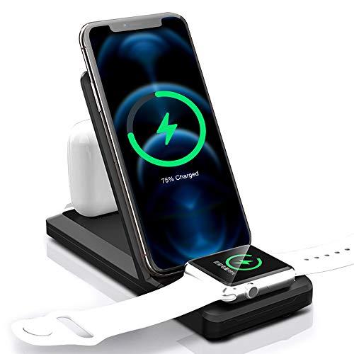 Cargador inalámbrico 3 en 1 con certificado Qi, estación de carga rápida de 15 W para iWatch 5/4/3/2/1, AirPods/AirPodsPro, estación de carga Qi para Phone 11 Pro Max Xs X Xr 8 8 Plus y Samsung