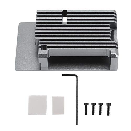 ASHATA behuizing van aluminiumlegering voor Raspberry Pi 4, metalen behuizing met koellichaam, externe sleuf, ingebouwde hete kolom voor Raspberry Pi 4, grijs