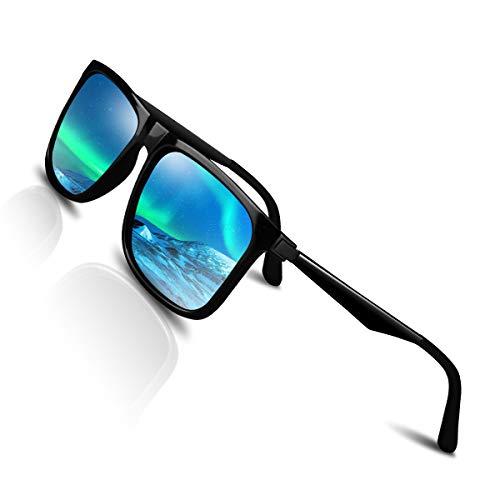 CHEREEKI Gafas de Sol Hombre Mujer Polarizadas UV400 Protection Clásico Retro Gafas (Argent)