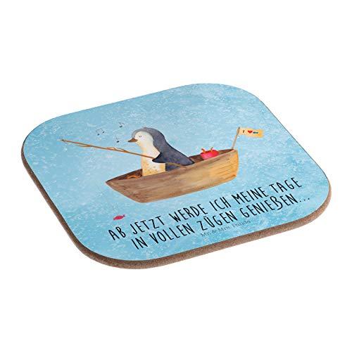 Mr. & Mrs. Panda Party, Schenken, Quadratische Untersetzer Pinguin Angelboot mit Spruch - Farbe Eisblau