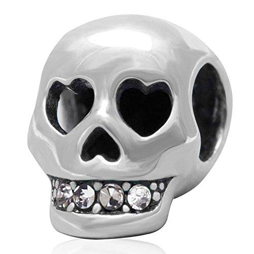Totenkopf Anhänger 925erSterlingsilber, christlicher Anhänger, Piraten-, Halloween-Anhänger für Pandora-Armband weiß