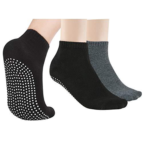 NEWCHAO 2 paia di calzini antiscivolo calzini antiscivolo per donna uomo, calzini antiscivolo per yoga Home Barre Pilates allenamento ospedaliero