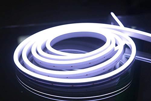 YXHL® DC12V Luz LED de silicona 6500K Cuerda de neón blanco frío 5 metros Impermeable para decoración interior y exterior Señal de bricolaje