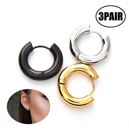 Aibada piercing Unisex paar 3 mm helix/tragus oorbellen oorpiercing scharnierend Huggie Helix roestvrij staal Hoop oorbellen zilver go (-)