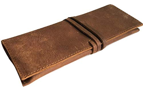 Genuine Buffalo Leather Pencil Case Pen Bag Storage Pouch Organizer, Leather Pencil Roll Pen and Pencil Case Stationery Holder Pencil Roll - Dark Brown