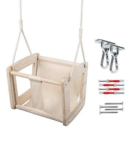 MAMOI Babyschaukel Schaukel Baby Holzschaukel Erwaschsene Indoor Designer Kinderschaukel Schaukelsitz Babysitz Holz ECO bis 30kg! | Made in EU ECO | CE-Zertifikat (Fleischfarbene + Haken)