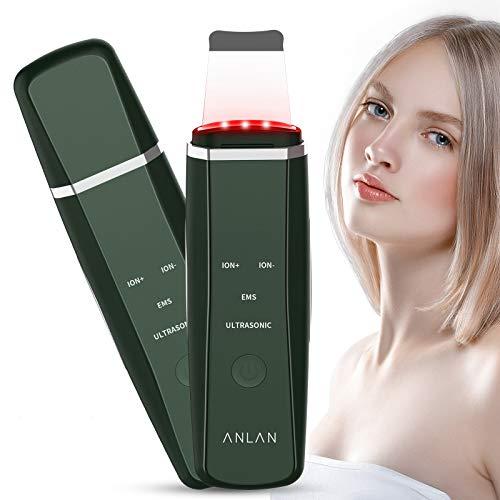 Ultraschallpeelinggerät ANLAN Skin Scrubber Ultraschall Peeling Porenreiniger Hautreiniger Akne Entferner Ionen EMS Massage für Gesichtsreinigung Gesichtspflege(Grün)