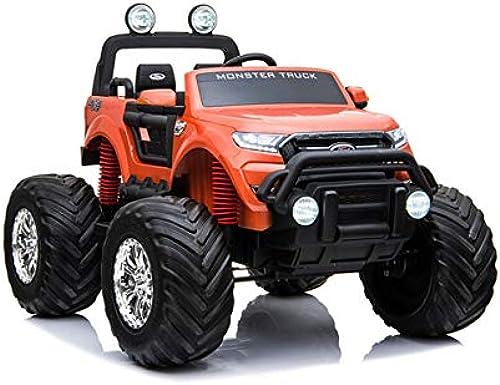 ES-TOYS Kinderfahrzeug - Elektro Auto Ford Ranger Monster - lizenziert - 2X 12V7AH Akku,4 Motoren+ 2,4Ghz+MP4+Ledersitz+Eva (Weißs)
