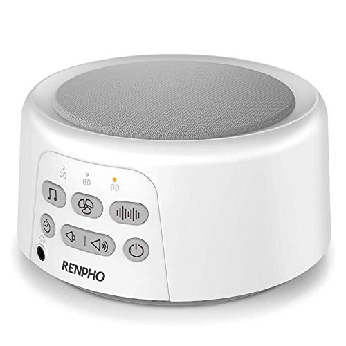 White Noise Machine, Sleep Sound Machine for Baby Sleeping, RENPHO 36 HiFi Memory Function Non-Looping Soothing Sound Sleep Therapy for Home, Office, Travel, Baby, Kids, and Adults (White)