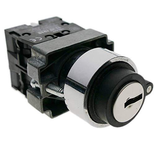 BeMatik - Selector rotatorio momentaneo 22mm 1NO 1NC 400V 10A normal abierto y cerrado con llave
