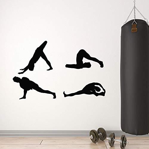 WERWN Estiramiento calcomanías de Pared para Ejercicios Gimnasia Saludable Ejercicio Puertas y Ventanas Pegatinas de Vinilo Sala de Entrenamiento de Yoga Gimnasio Arte Interior