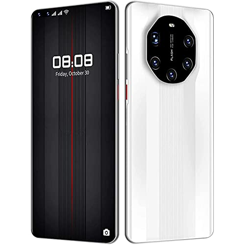 HGDM Smartphone Desbloqueado, Teléfono Celular Android 10 Desbloqueado con Dual Sim 64 / 128GB + 8GB 48MP 6.8 '' FHD + Ten Core 5000Mah Face ID gsm 5G, GPS, Bluetooth, WiFi,Blanco