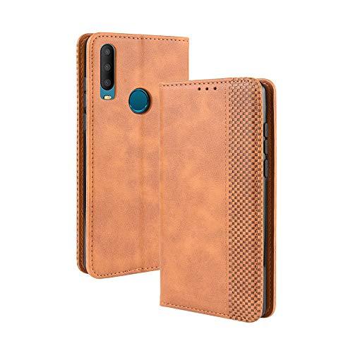 LAGUI Kompatible für Alcatel 3X 2019 Hülle, Leder Flip Hülle Schutzhülle für Handy mit Kartenfach Stand & Magnet Funktion als Brieftasche, braun