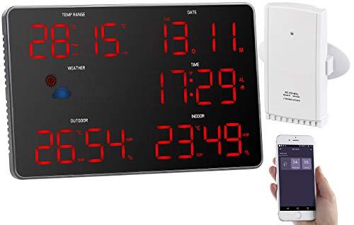 infactory Jumbo Uhr: Design-LED-Wetterstation mit WLAN, Außensensor, Wettersymbolen und App (WLAN Funk Wetterstation)