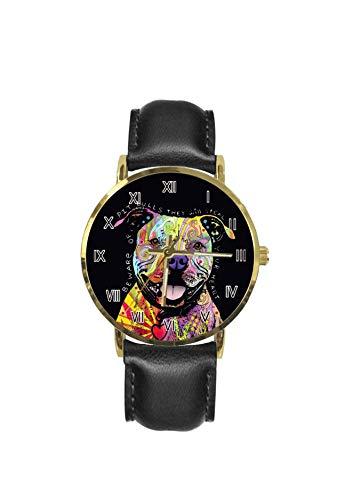 XUTAI Custom - Reloj de pulsera para hombre, correa de cuero de acero inoxidable, correa de cuarzo, color negro