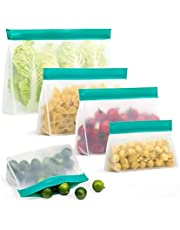 Hersluitbare diepvriestape Eten Opbergtas Upgrade Leakproof Top Stand-up Herbruikbare Vriezer Sandwich Ziplock Siliconen Bag Geschikt voor voedsel, koekjes, groenten, enz.