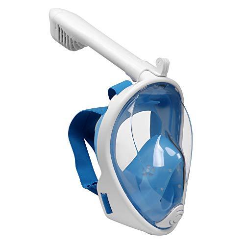 Emsmil 180° Schnorchelmaske Tauchmaske Vollmaske Vollgesichtsmaske Taucherbrille Snorkeling Mask Full Face Anti Fog für Schwimmen Schnorcheln Tauchen Kinder Kids Blau XS