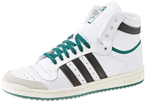 adidas Top Ten Hi, Scarpe da Ginnastica Uomo, Blanc/Noir/Vert, 44 EU