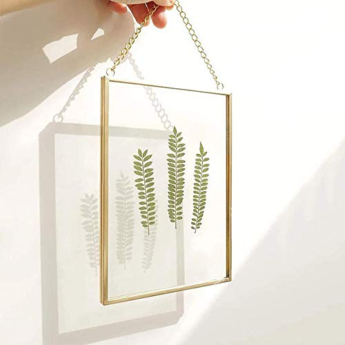 25x20cm Bilderrahmen aus Kupfer Messing Hängende schwimmende Glas Fotorahmen Gold Geometrische Ornament Pflanze Probe Clip Moderne vertikale Dekor Karte Artwork Bild Display Halter , Nur Glasrahmen