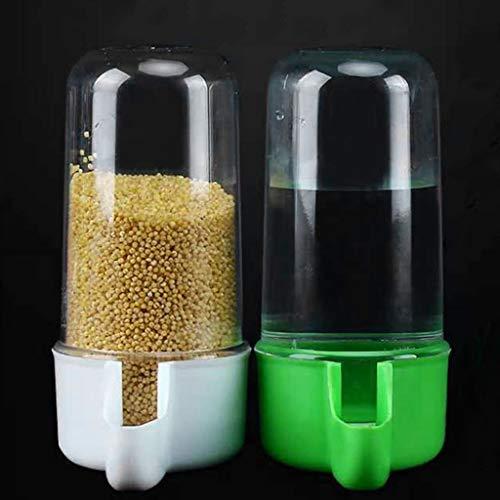 Folewr Juego de 2 comederos y bebederos de pájaros de plástico transparente y dispensador de agua de gran capacidad se adapta a la mayoría de jaulas de alimentación automática