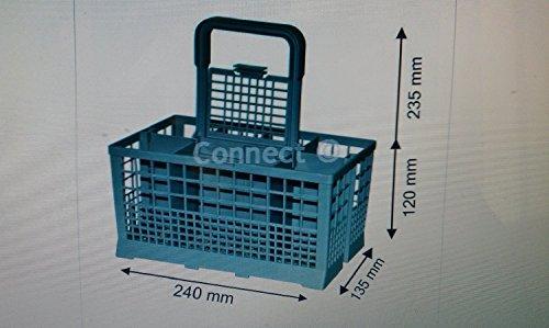Cubertero para lavavajillas/cesta para el lavavajillas, con mango extraíble, tamaño H sin mango (120mm) H con asa (235mm) X L (240mm) X D (135mm) para Bosch meile Beko Zanussi Hotpoint Creda
