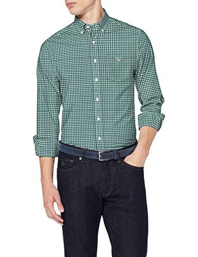 GANT The Broadcloth Gingham Reg BD Camicia, Verde Ivy, XL Uomo