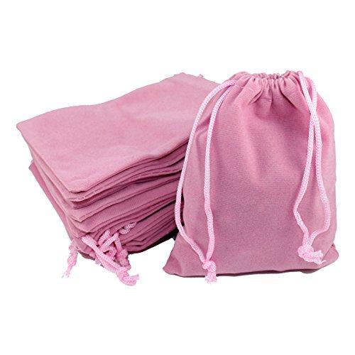 Kleenes Traumhandel 50 sacchetti per gioielli in velluto, circa 9 x 12 cm, in tessuto, rosa