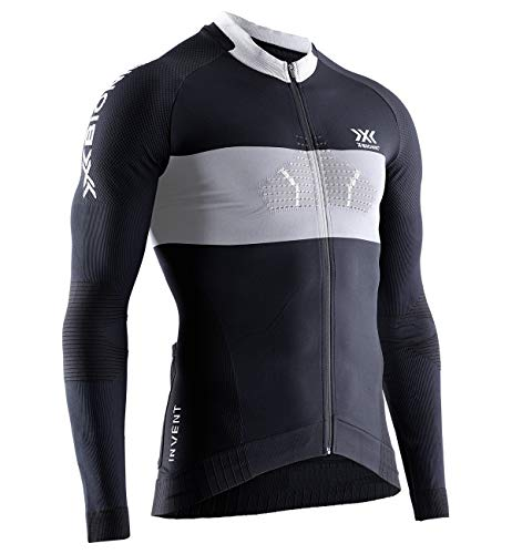 X-Bionic Invent 4.0 Cycling Shirt Long Sleeves Men, Maglia da Ciclismo con Zip Anteriore Manica Lunga Bicicletta MTB della Camicia Uomo, Black/Charcoal, M