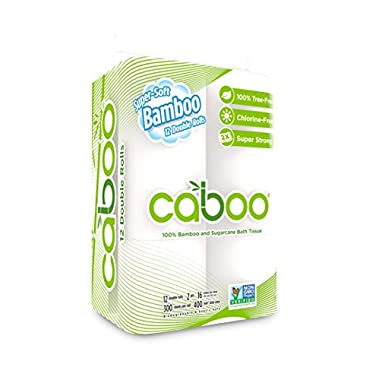 Caboo Tree-Free Bamboo Toilet Paper, Septic Safe Biodegradable Bath Tissue, Eco Friendly Soft 2 Ply Sheets, 300 Sheets Per Roll, 12 Double Rolls