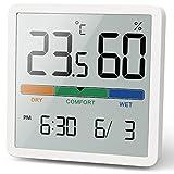 NOKLEAD Termómetro interior del higrómetro, termómetro digital de escritorio con monitor de temperatura y humedad, termómetro de habitación de...