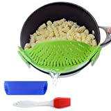Clip-On Kitchen Food Strainer for Spaghetti, Pasta, & Ground Beef Grease, Colander & Sieve Snaps on Bowls, Pots and Pans, Set includes Silicone Strainer, Brush & Garlic Peeler by Salbree (Green)