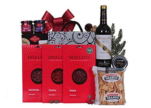 Detalle de navidad BÁSICO con Ibéricos JOSELITO, Tinto D.O. Rioja Crianza y conservas variadas.