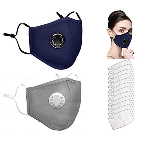 AmyGline 2 Stück Outdoor Baumwolle-Gesichtsschutz-Mundschutz,mit 12 Aktivkohlefilter,Wiederverwendbar,Waschbar,Anti-Staub,Atmungsaktiv,Schwarz,für Motorrad,Laufen (2PC+12 Filter, Blau+Grau)
