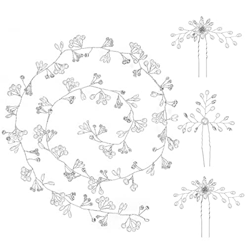 BNPCBUK Fascia per Capelli da Sposa 100 cm Fermagli Capelli Sposa Accessori per Capelli con Perle da Sposa, con Capelli Perle Mollette di U per Acconciatura Matrimonio Donne e Ragazze