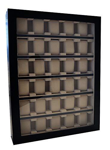 Vitrina de pared para 30 relojes, color negro con ventana