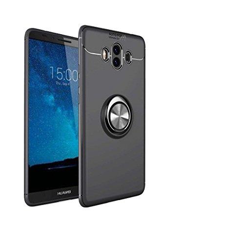 Shinyzone für Huawei Mate 10 Lite Hülle,Schwarz mit 360 Grad drehbarer Ring Ständer,Ultra Dünn Weich TPU Stoßfest Schutzhülle Kompatibel mit Magnetischer Autohalterung