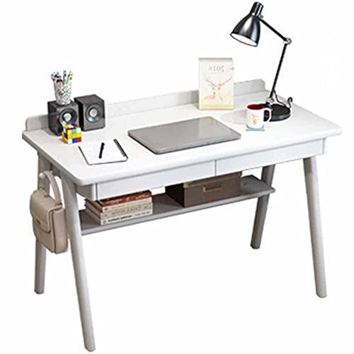 LJFYXZ Escritorio de Estudio Toda la Madera Maciza Mesa de Estudio para niños con cajón Debajo del Estante de la Mesa Oficina en casa Escritorio para computadora portátil 100x60x7(Color:Blanco)