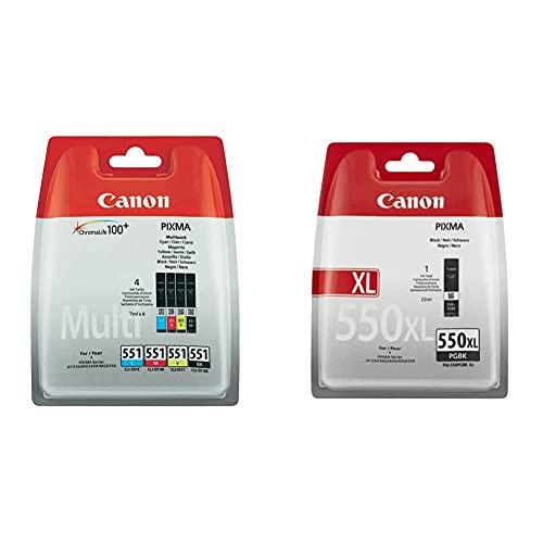 Canon CLI551 4 Cartuchos Multipack de Tinta Original + PGI-550XL Cartucho de Tinta Original Negro XL para Impresora de Inyeccion de Tinta Pixma