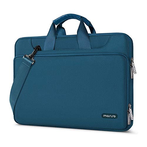 MOSISO 360 Protective Laptop Shoulder Bag Compatible with MacBook Pro 16 inch, 15 15.4 15.6 inch Dell Lenovo HP Asus Acer Samsung Chromebook, Water Repellent Sleeve Case with Trolley Belt, Deep Teal
