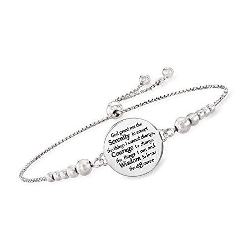 """Ross-Simons Italian Sterling Silver""""Serenity Prayer"""" Bolo Bracelet"""