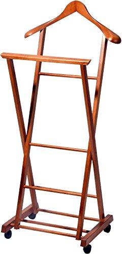 Klappbarer Herrendiener aus Holz auf 4 Rollen, Stummer Diener, Buche Lackiert, 33 x 41 x 104 cm, braun