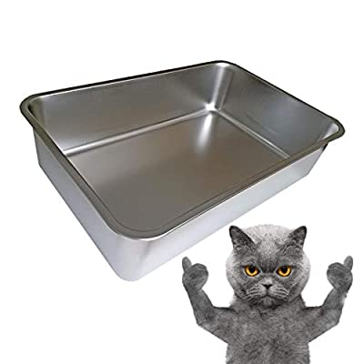 "KUNWU SUS304 Stainless Steel Food Grade 6"" Deep Extra Large Cat Litter Box Corrosion Resistant Durable Pan (XL (Extra Large-23.5""x15.5""x6""))"