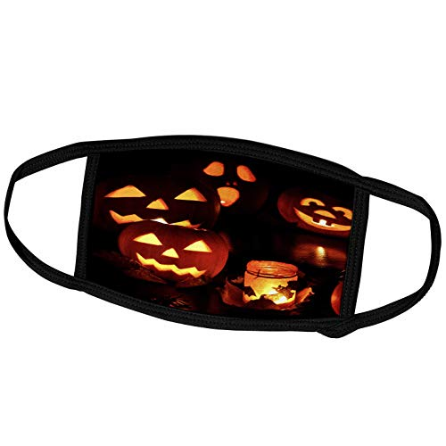 3dRose Sandy Mertens Halloween Designs - Candle Lit Jack o Lanterns and Bat Decorated Glass Luminare - Face Masks (fm_156756_2)