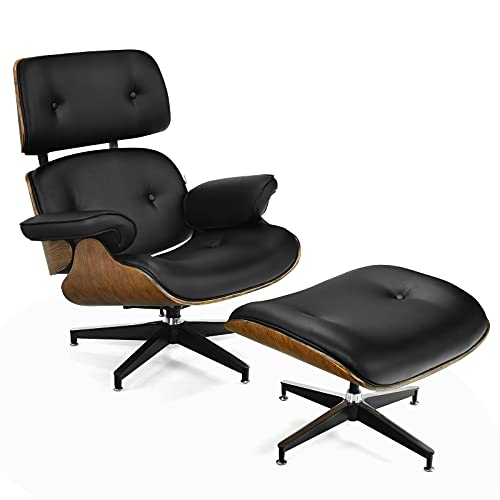 Giantex Mid Century Lounge Chair with Ottoman, Leather 360 Swivel Chair w/Ottoman, Heavy Duty Aluminum Base, Modern Recliner Lounge Chair &Footrest Set for Office, Living Room (Black)